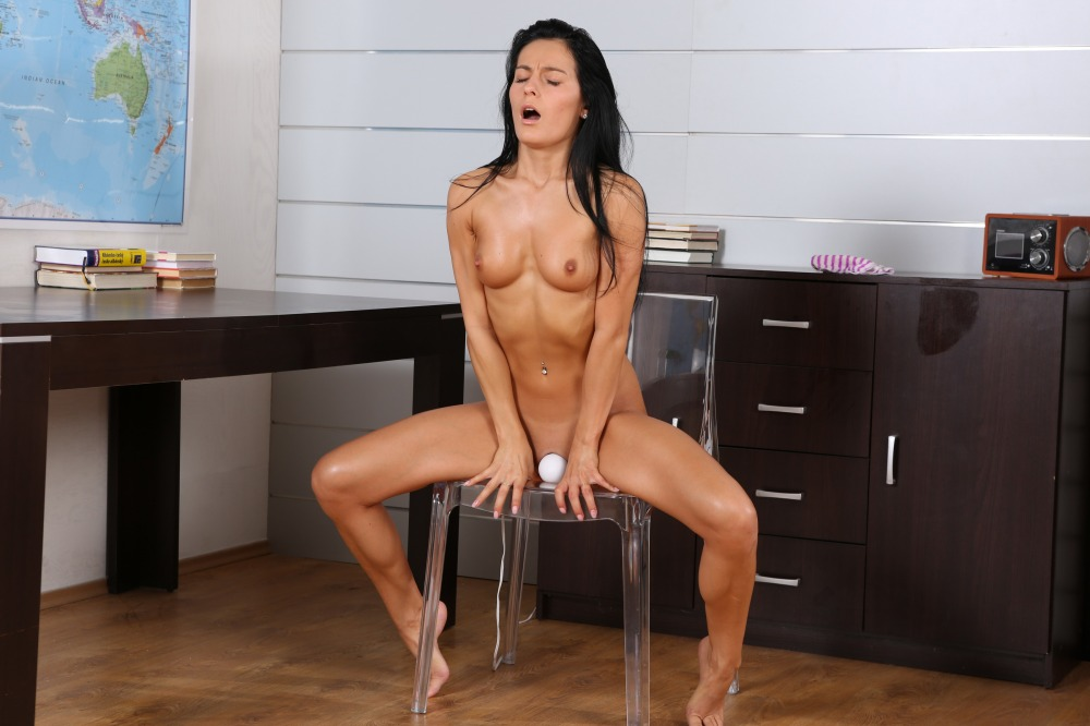 Lexi Dona stripped naked in her office and using a vibrator