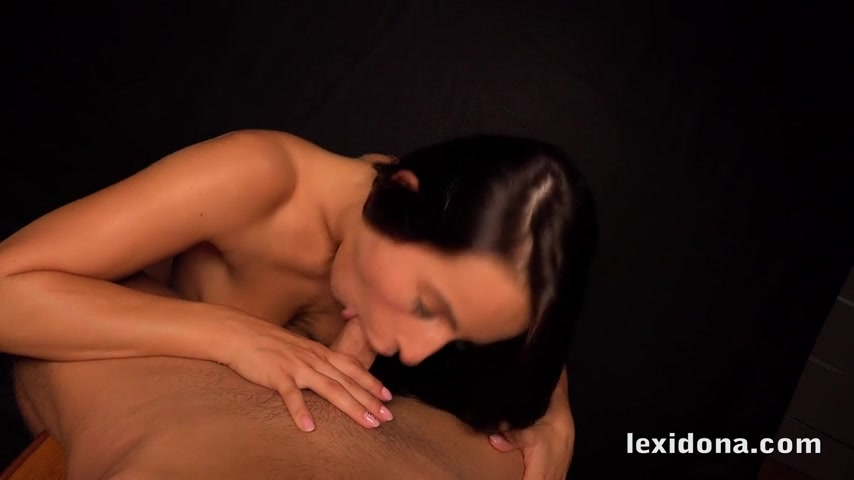 Horny brunette Lexi Dona gives a blowjob in the dark