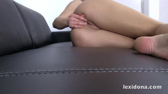 Horny brunette Lexi Dona fingers her pussy and clit